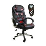 Cadeira Presidente Em Couro Pu Pel-c2652 Preta Com Massagem