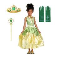Fantasia Vestido Festa Infantil Princesa Tiana E Acessórios