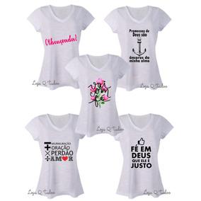 Kit 5 Blusas Feminina T-shirt Gola V Gospel Roupa Evangélica