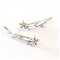 Brinco De Prata Ear Cuff Flor Com Zircônias Prata De Lei