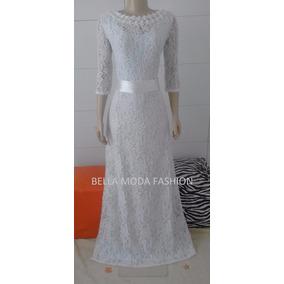 Vestido Longo Noiva Pérola E Guipir No Decote - Plus Size