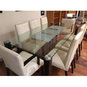 Sala Jantar Tampa Vidro 2,05 X 1x10 Com 8 Cadeiras Couro