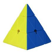 Cubo Qiyi Pyraminx Qiming Stickerless/negro + Base Belgrano