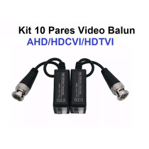 Kit 10 Pares Video Balun Conversor Par Trançado Ahd Hdcvi