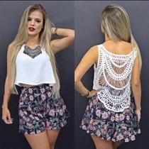 Blusinha Com Renda Nas Costas Moda Feminina Primavera Verão