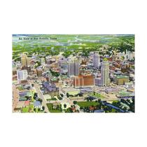 San Antonio, Texas, Aerial View Of The City Print, 24 X36