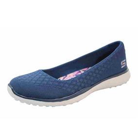 Flat Skechers One Up Azul Marino Mujer Dama Zapatos Rudos