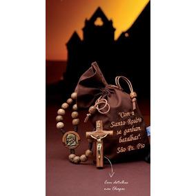 Terço São Padre Pio Couro No Saquinho Bordado - Lançamento