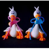 Souvenir Baby Shower Cigüeña Nacimiento Porcelana Fria