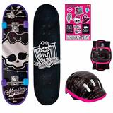 Skate Skateboard Monster High Kit De Segurança - Caveira Fun