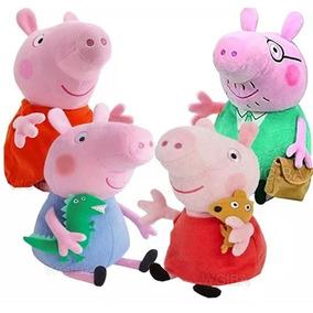 Kit 4 Bonecos Pelúcias , Peppa Pig E Jorge Familia Pai E Mae