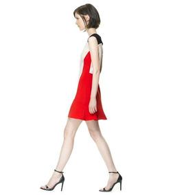 Vestido Liso Moderno Laranja Preto E Bege