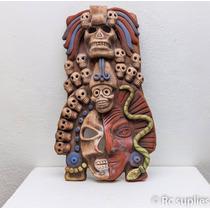 Mascara Prehispánica Vida Y Muerte Con Serpiente Artesania