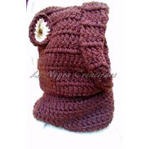 Gorro Oso Tejido Crochet Cuello C/ Capucha-lanegracreaciones
