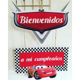 Cartel De Bienvenida Cars Autos Carrera Cotillón Cumpleaños