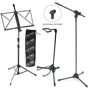 Pedestal P Microfone Ibox +estante Partitura +suporte Violão