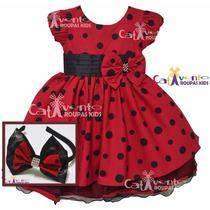 Vestido De Festa Infantil Minnie/joaninha Luxo Com Tiara