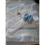 Kit Maternidade Manta, Sapatinho E Toalha Bordada