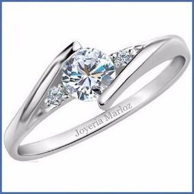 Anillo Compromiso Oro Blanco 14kt Diamante Ruso Envío Gratis