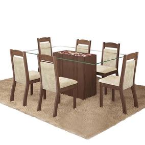 Conjunto Mesa Jantar Nice 6 Cadeiras - Choco Canela