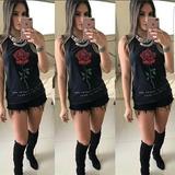 Blusa Regata Tecido Estonado Estampa Flor Roupas Femininas