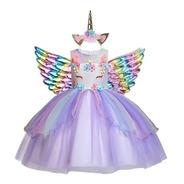 Vestido Unicórnio Luxo Festa Infantil Aniversários + Chifre