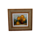 Quadro Obra De Arte Flores Pintura Feira A Mão 32x34