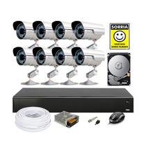Kit Cftv 8 Cameras Infra Sony Hd 1tb Dvr H.264 Compl Cod1360