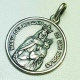 Medalla Virgen Del Rosario San Nicolas De Plata 925 Diam 22