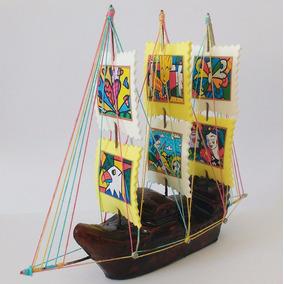 Barco Miniatura Decorativo Romero Brito 22 Cm Artesanal