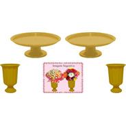 2 Mini Boleiras E 2 Vasos Grego Dourado