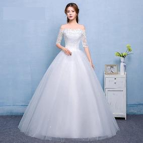 Vestido De Noiva Longo Princesa Renda Rodado Manga Curta