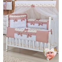 Kit Berço Bebê Princesa Charlotte Provençal Rosê Floral 100%