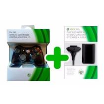 Controle Xbox 360 Slim Sem Fio Wireless + Bateria Carregador