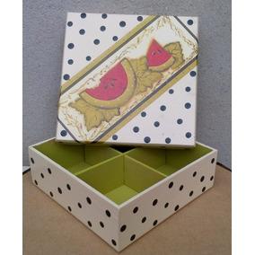 Caixa De Chá -madeira E Decoupage - 4 Partes