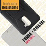 Funda Protector Uso Rudo + Cristal Templado Huawei Gw Metal