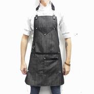 Delantal Jean Y Cuero Vacuno Ideal Barista Peluquería Chef
