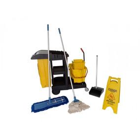 Kit Completo Do Carrinho Funcional De Limpeza Profissional