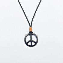 Colar Masculino Cordao Simbolo Da Paz Rock