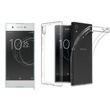 Kit Capa Transparente Sony Xperia Xa1 G3116 + Película Vidro