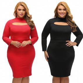 Vestido Tallas Extras Grande Plus Moda Rojo Negro Promoción!