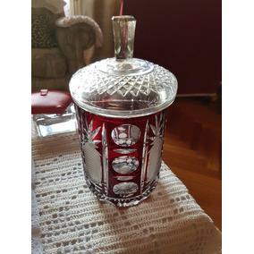 Antiguo Potiche Tallado Cristal Decorado Cristaleria Jarro