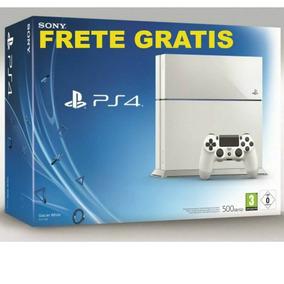 Playstation 4 Branco Ps4 Original 2 Controles+20 Jogos