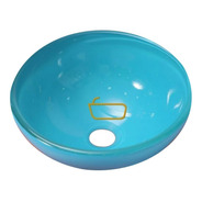 Bacha Apoyo Baño 40 Cm Vidrio Color Turquesa