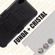 Funda Protector Uso Rudo Con Clip + Cristal Lg X Style K200