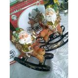 Fino Adorno Navideño Santa Y Reno En Ceramica Para Navidad