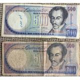 Dos Billetes De Quinientos Bolívares 1990 Y 1999 Serie V