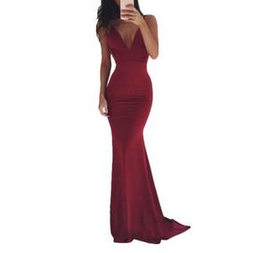 Vestido Largo De Noche Moda Elegante Corte Sirena Ajustado