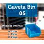 Caixa Gaveta Plástica Azul Ou Preta Nº5 Bin 4 Peças