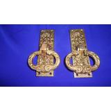 2 Batedores P/ Porta Antigos, Em M. Amarelo Estilo Colonial.